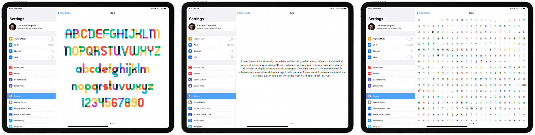 3 views of a font in iPadOS Settings